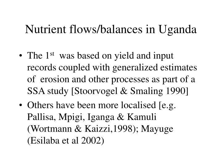 Nutrient flows/balances in Uganda
