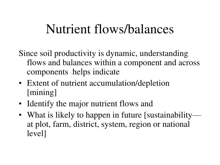 Nutrient flows/balances
