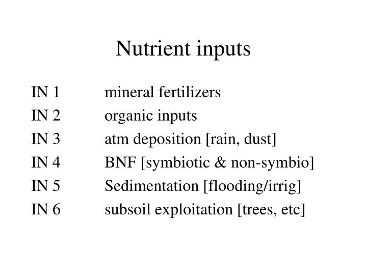 Nutrient inputs