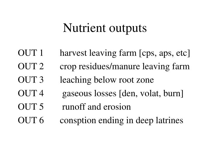 Nutrient outputs