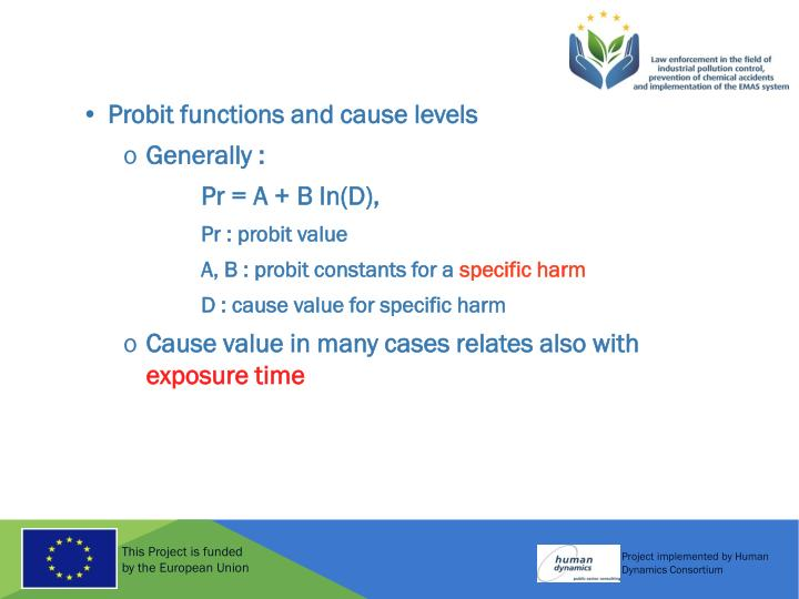 Probit functions and cause levels
