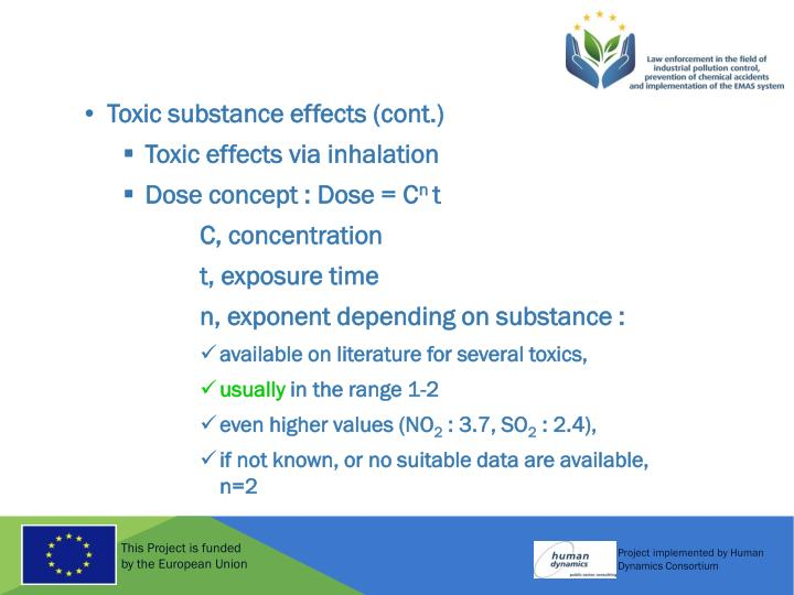 Toxic substance effects (cont.)