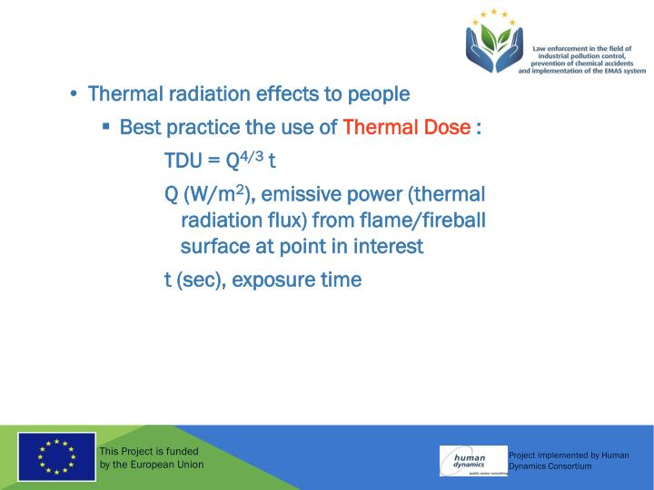 Thermal radiation effects to people