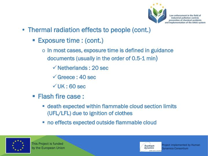 Thermal radiation effects to people (cont.)