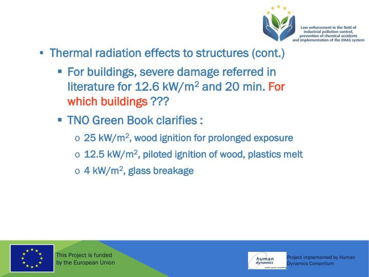 Thermal radiation effects to structures (cont.)