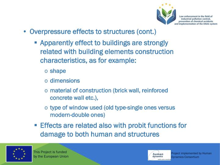 Overpressure effects to structures (cont.)