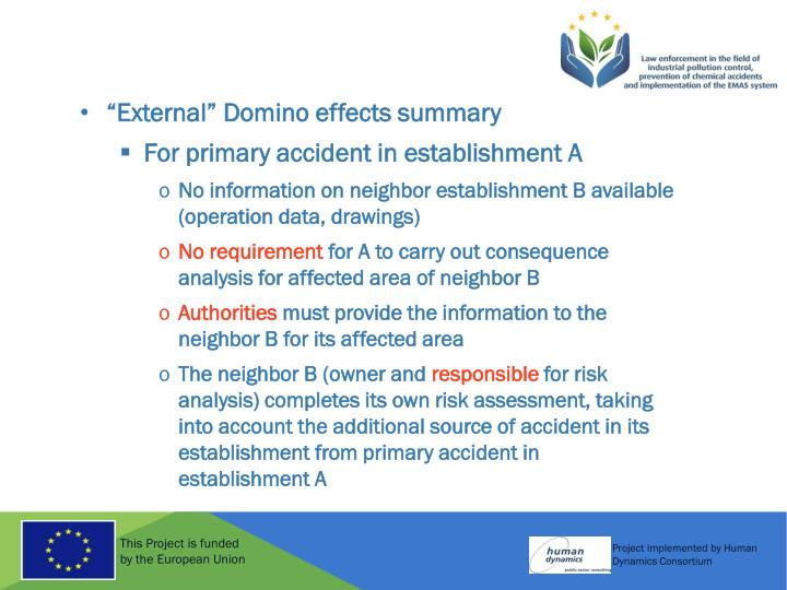 """External"" Domino effects summary"