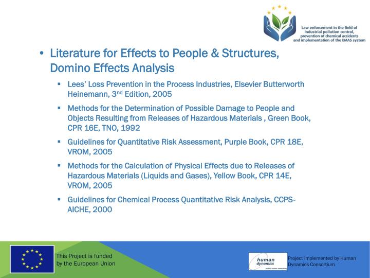 Literature for Effects to People & Structures, Domino Effects Analysis