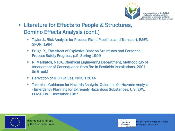 Literature for Effects to People & Structures, Domino Effects Analysis (cont.)