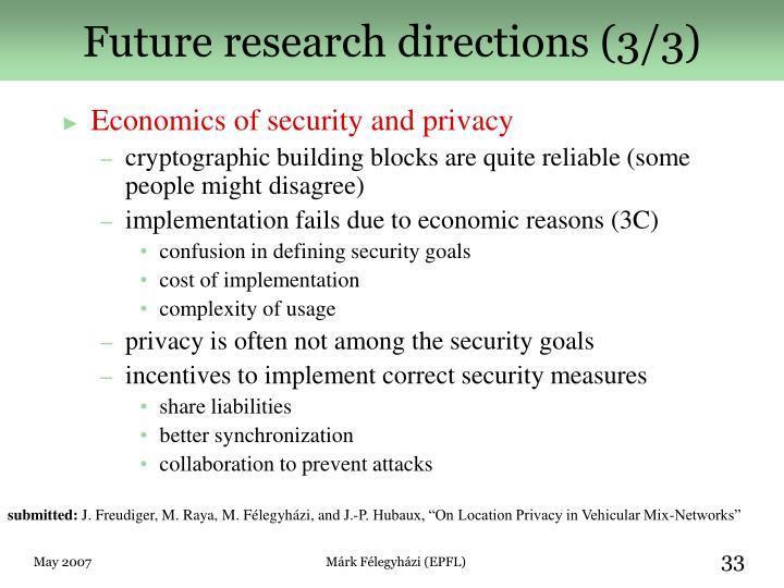 Future research directions (3/3)