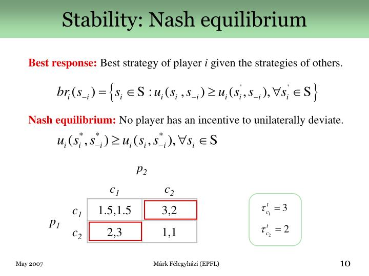 Stability: Nash equilibrium
