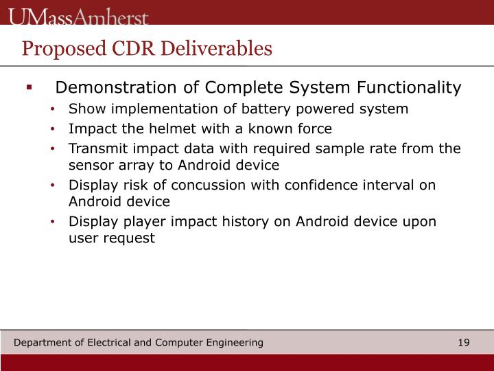 Proposed CDR Deliverables