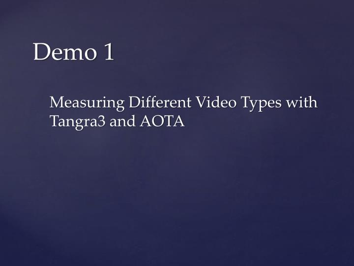 Measuring Different Video Types with Tangra3 and AOTA