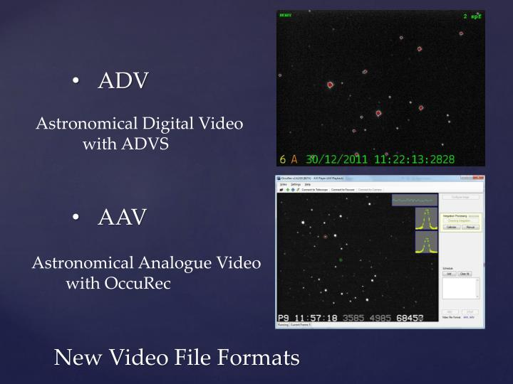 New video file formats