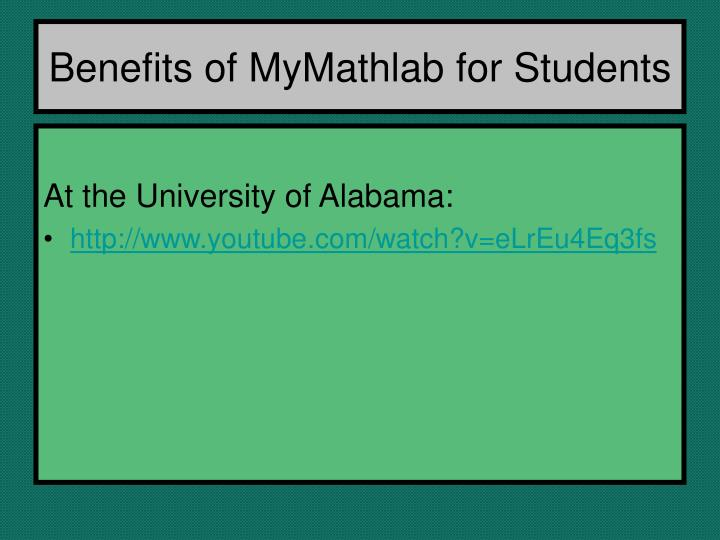 Benefits of MyMathlab for Students
