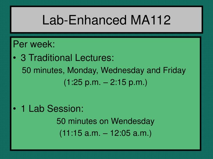 Lab-Enhanced MA112
