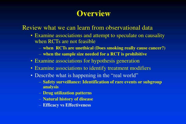Review what we can learn from observational data