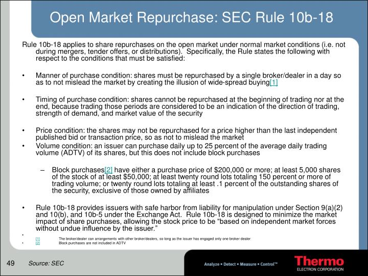 Open Market Repurchase: SEC Rule 10b-18