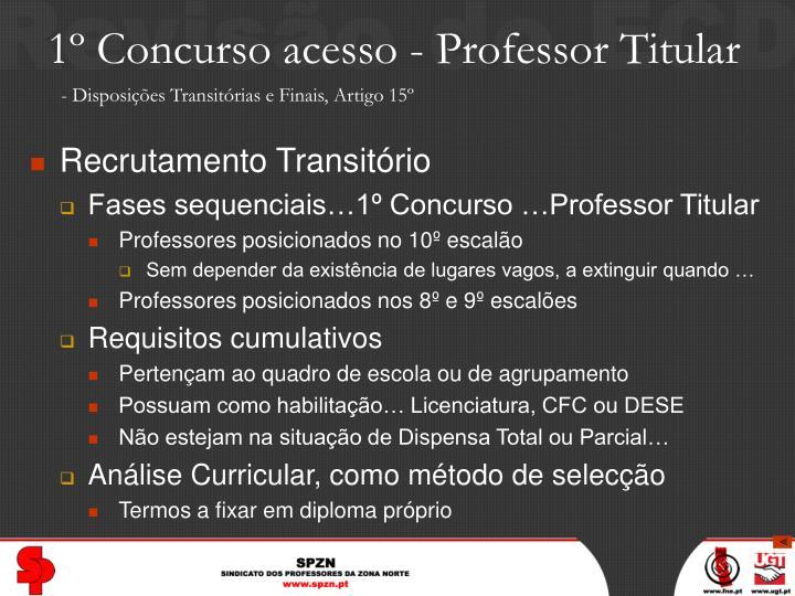 1º Concurso acesso - Professor Titular