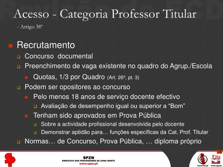 Acesso - Categoria Professor Titular