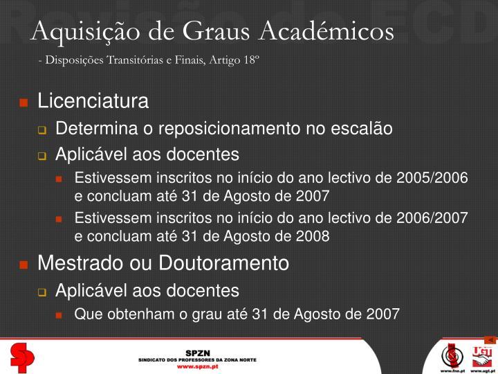 Aquisição de Graus Académicos