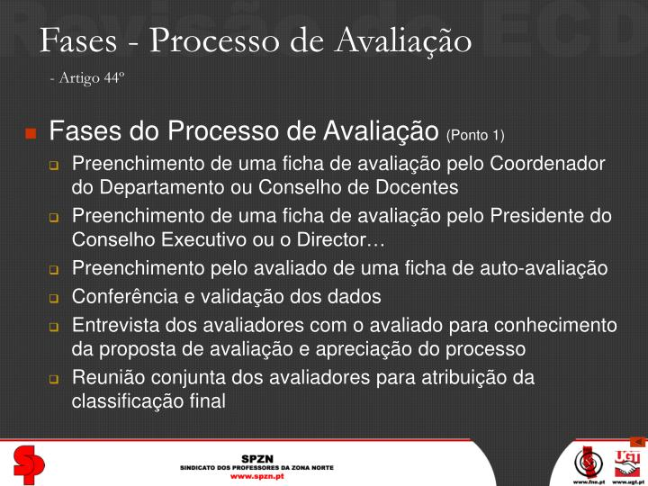 Fases - Processo de Avaliação