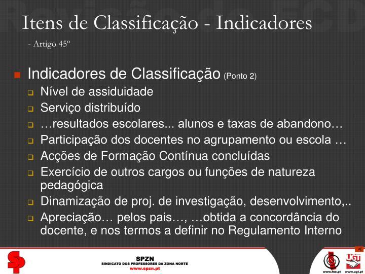 Itens de Classificação - Indicadores