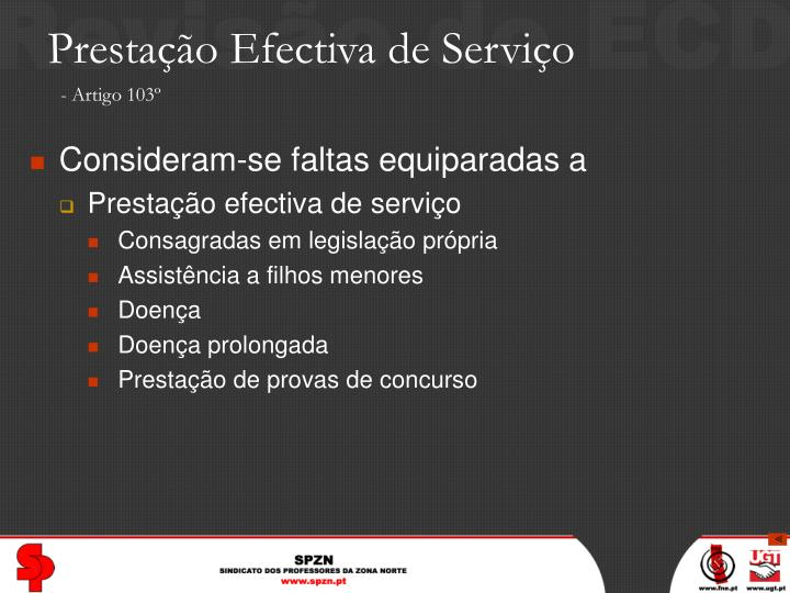 Prestação Efectiva de Serviço