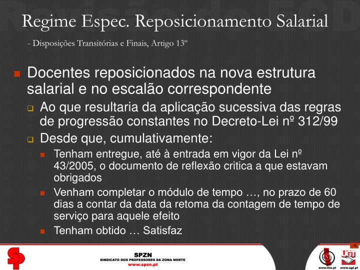 Regime Espec. Reposicionamento Salarial