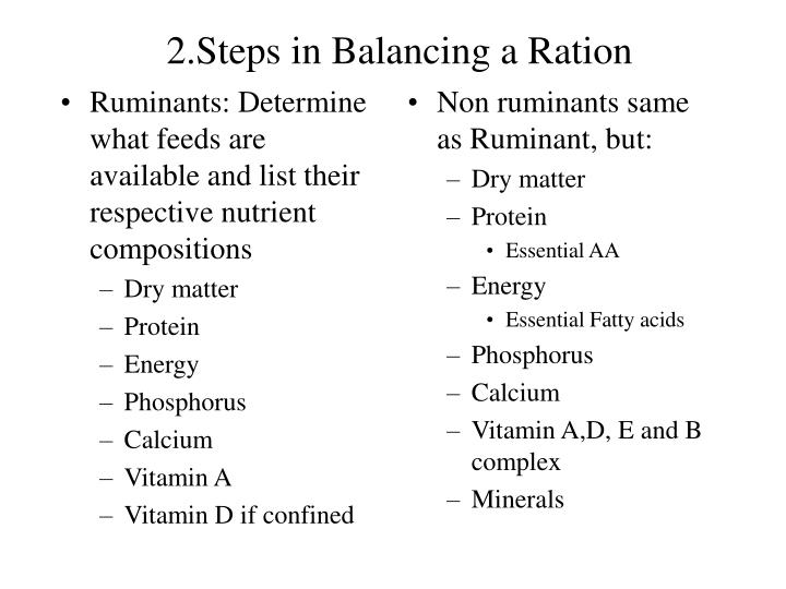 2 steps in balancing a ration