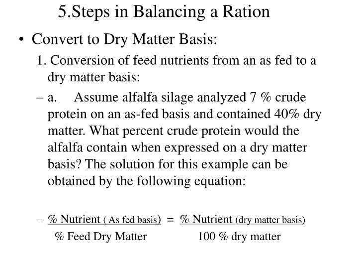 5.Steps in Balancing a Ration