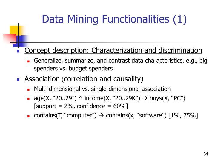 Data Mining Functionalities (1)