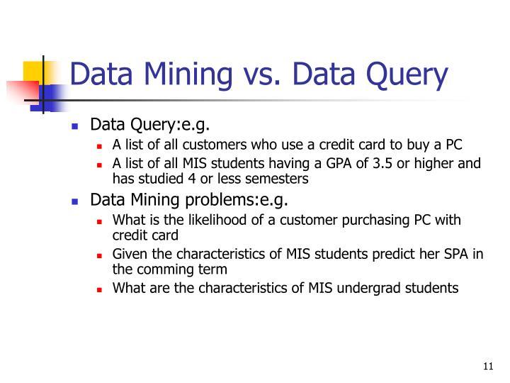 Data Mining vs. Data Query