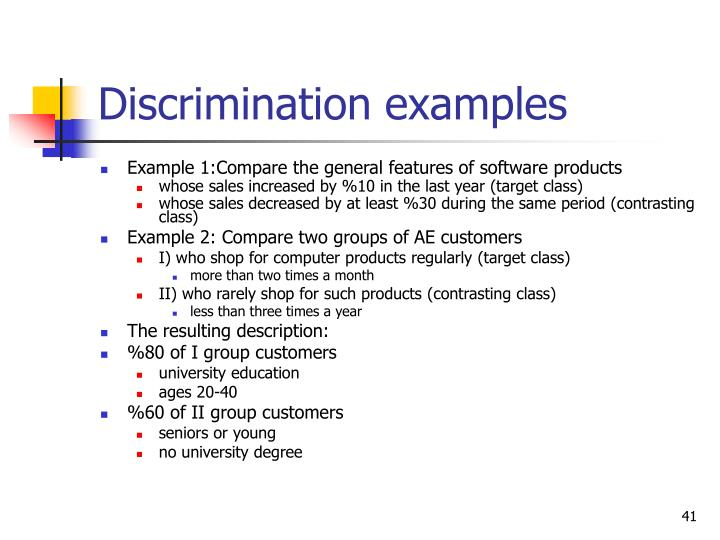 Discrimination examples