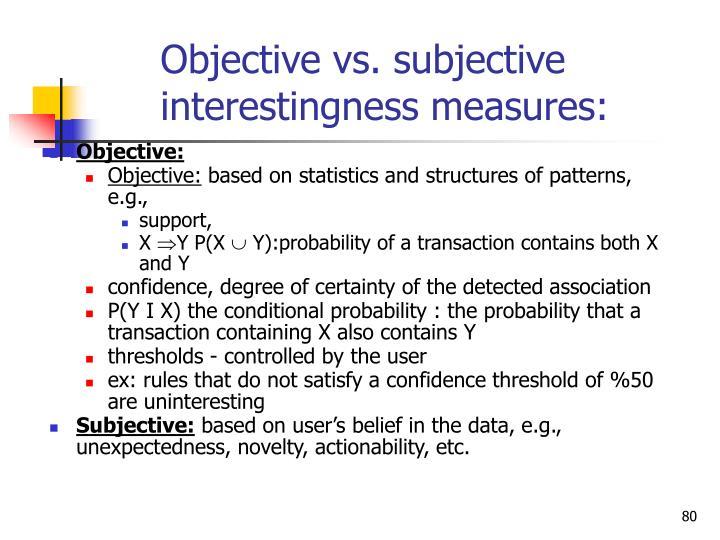 Objective vs. subjective interestingness measures: