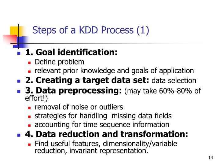Steps of a KDD Process