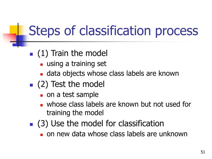 Steps of classification process