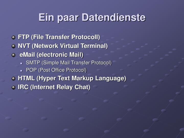 Ein paar Datendienste