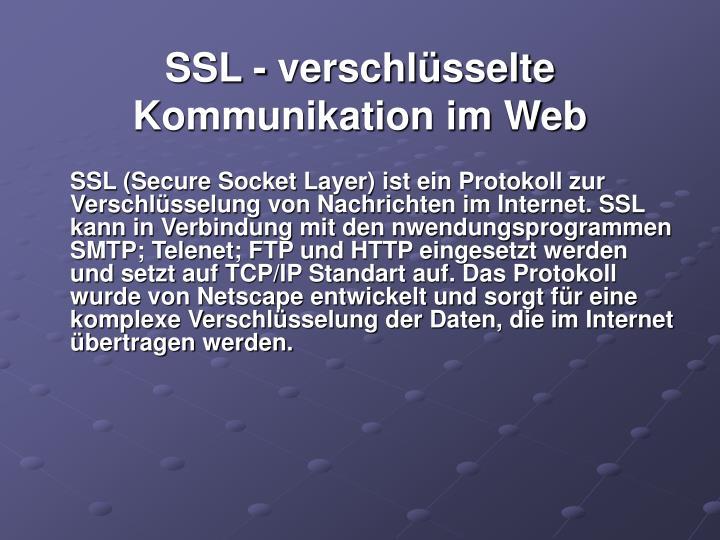SSL - verschlüsselte Kommunikation im Web