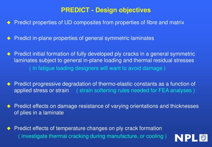 PREDICT - Design objectives