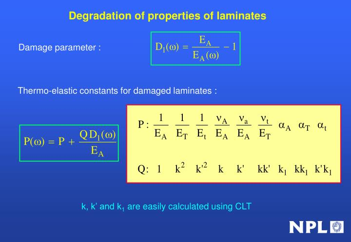 Degradation of properties of laminates