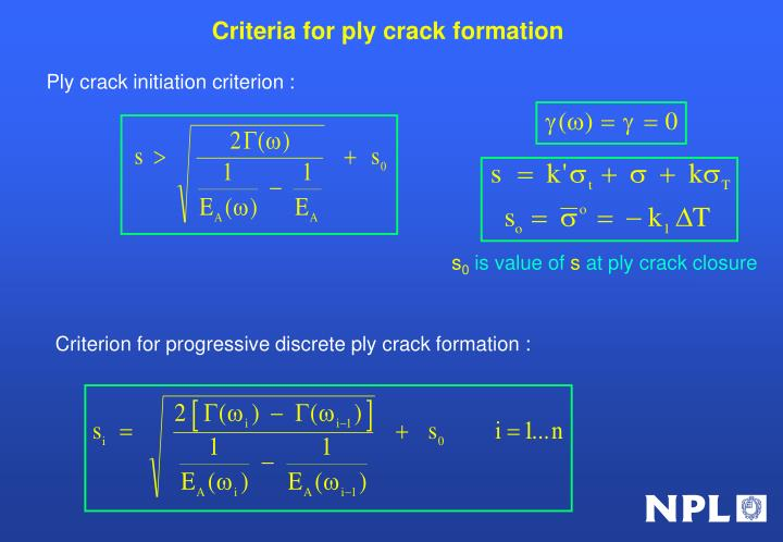 Criteria for ply crack formation