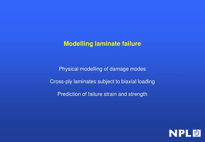 Modelling laminate failure