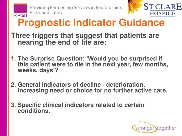 Prognostic Indicator Guidance