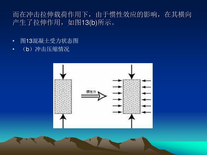 而在冲击拉伸载荷作用下,由于惯性效应的影响,在其横向产生了拉伸作用,如图