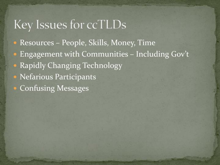 Key Issues for ccTLDs