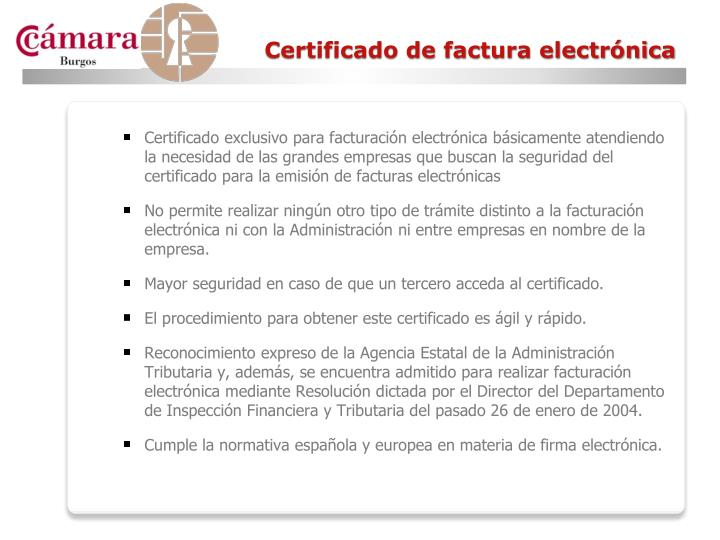 Certificado de factura electrónica