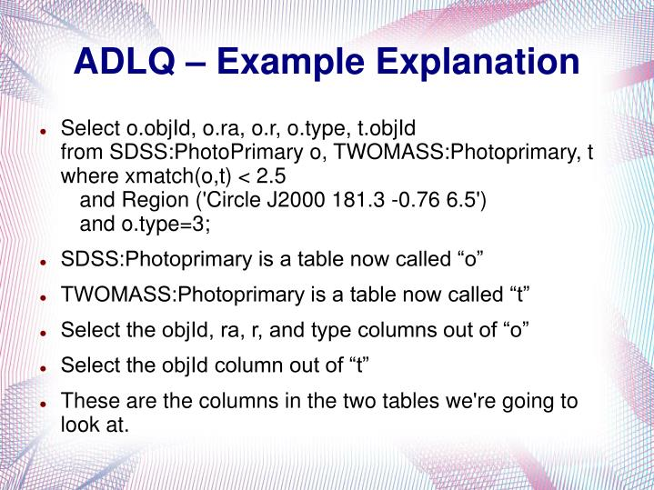 ADLQ – Example Explanation
