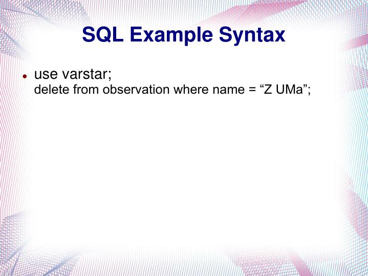 SQL Example Syntax