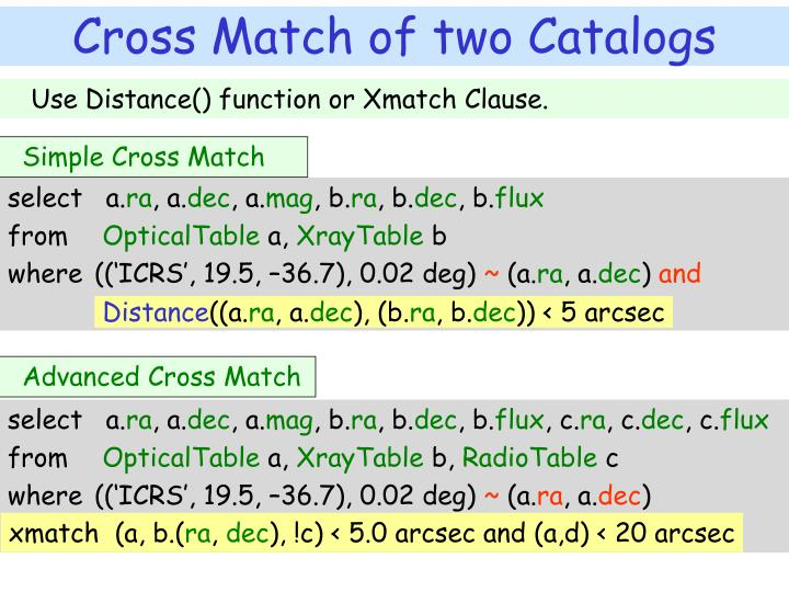Use Distance() function or Xmatch Clause.